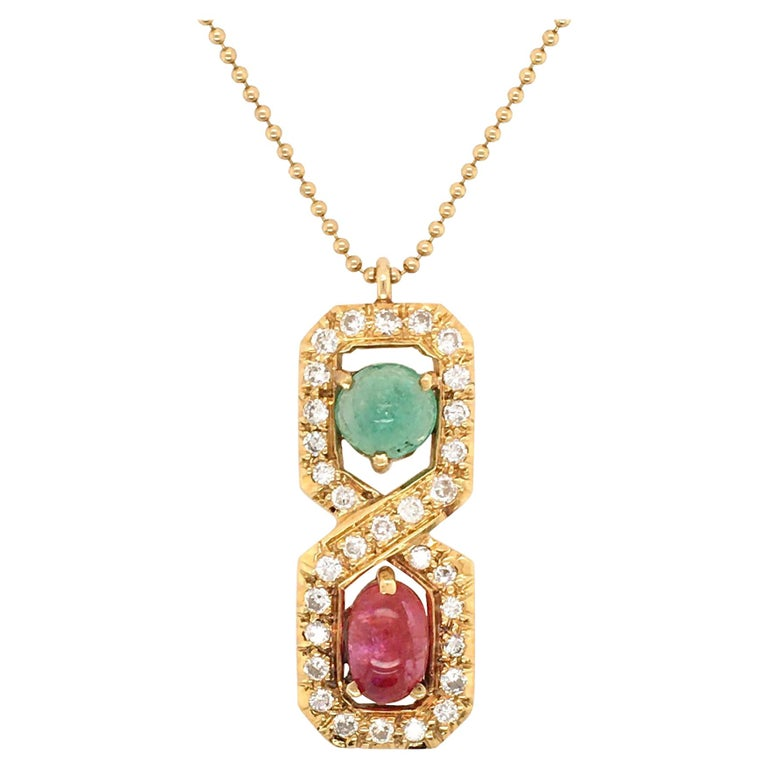 Gold, Ruby, Emerald and Diamond Pendant Necklace For Sale