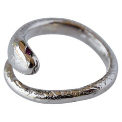 Gold Ruby Snake Ring Adjustable J Dauphin