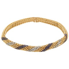 Gold, Sapphire and Diamond Cous-Cous Necklace