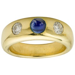 Gold Sapphire and Diamond Gypsy Ring