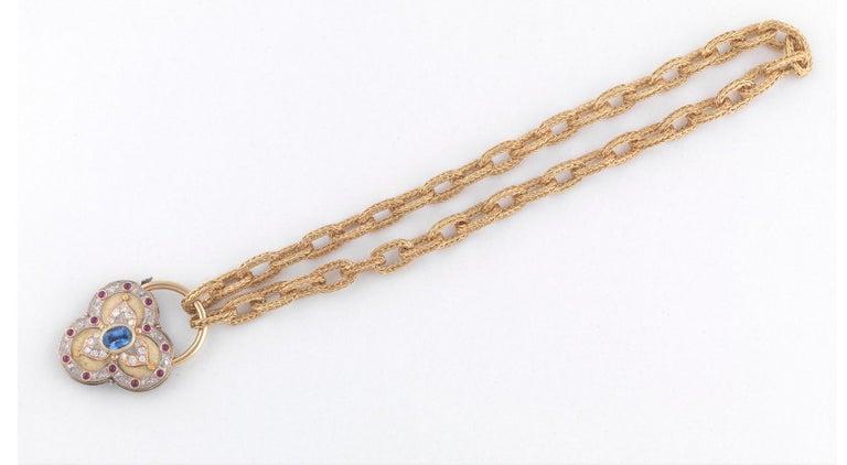 Gold Sapphire and Diamond Pendant Cazzaniga Roma of Heart Design In Excellent Condition For Sale In Firenze, IT