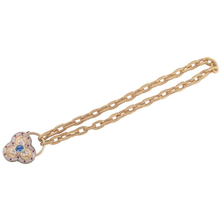 Gold Sapphire and Diamond Pendant Cazzaniga Roma of Heart Design For Sale