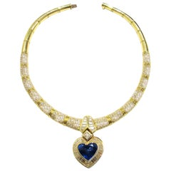 Gold, Sapphire and Diamond Pendant Necklace