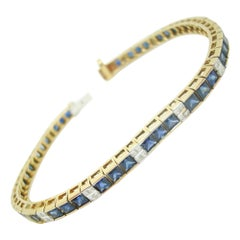 Gold Sapphire Bracelet with 15 Carats of Genuine Natural Blue Sapphires '#J480'