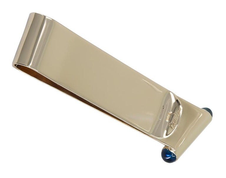 Gold and Sapphire Cartier Money Clip In Excellent Condition For Sale In New York, NY