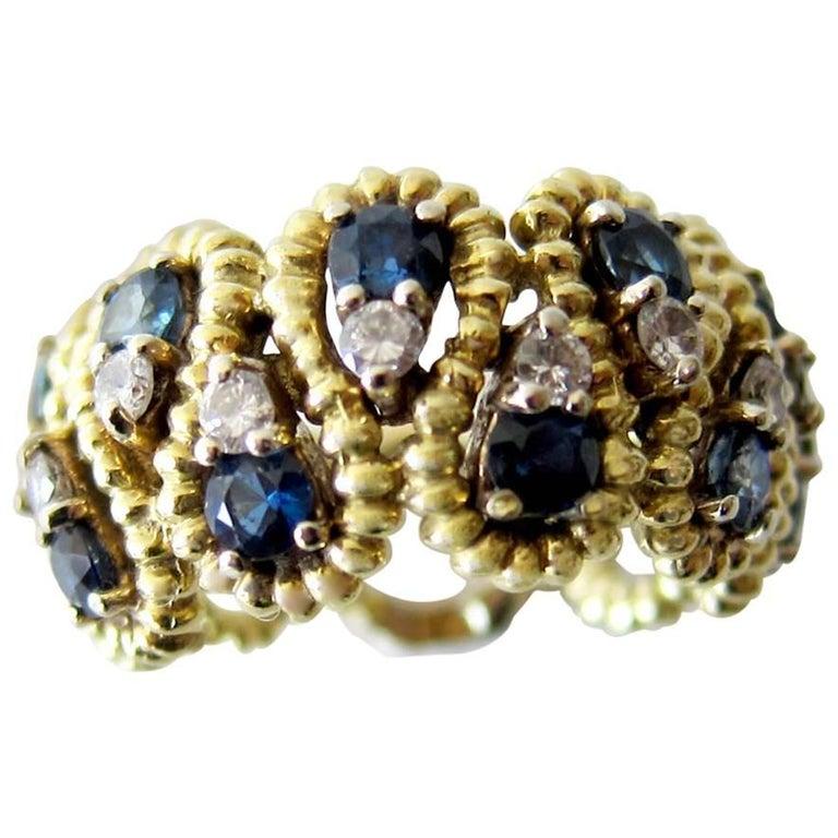 Gold Sapphire Diamond Lattice Cocktail Ring