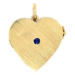 Gold Sapphire Heart Locket