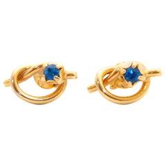 Sapphire Knot 18K Gold Stud Earrings