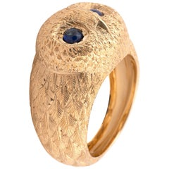 Gold and Sapphire Owl Ring
