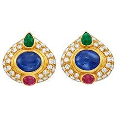 Gold Sapphire Ruby Emerald Diamond Earrings