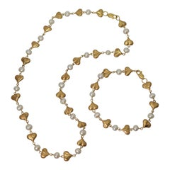 Gold Satin Heart Puff Charm Necklace Bracelet Set