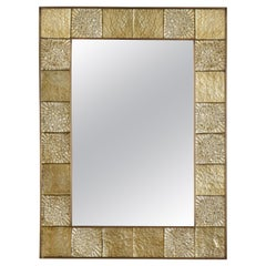 Gold Sculptural Murano Glass and Brass Rectangular Mirror, Italy