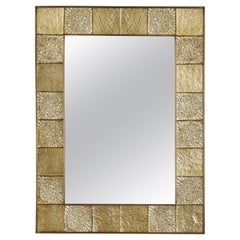 Gold Sculptural Murano Glass and Brass Rectangular Mirror, Pair Available, Italy