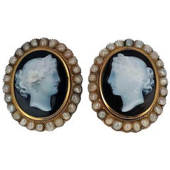 Gold Seed Pearl Cameo Earrings