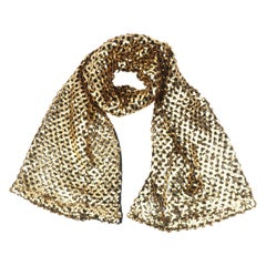 Gold Sequin Black Crochet Knit Scarf Shawl Wrap