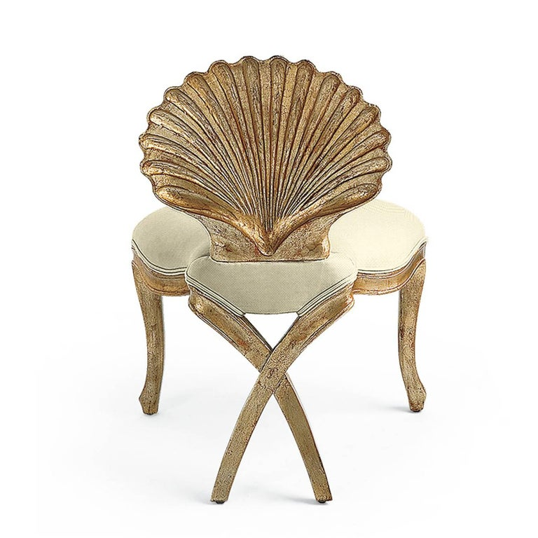 Contemporary Gold Shell Chair in Solid Hand-Carved Wood Silver Gilt Painting  For Sale
