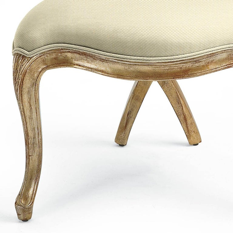 Fabric Gold Shell Chair in Solid Hand-Carved Wood Silver Gilt Painting  For Sale
