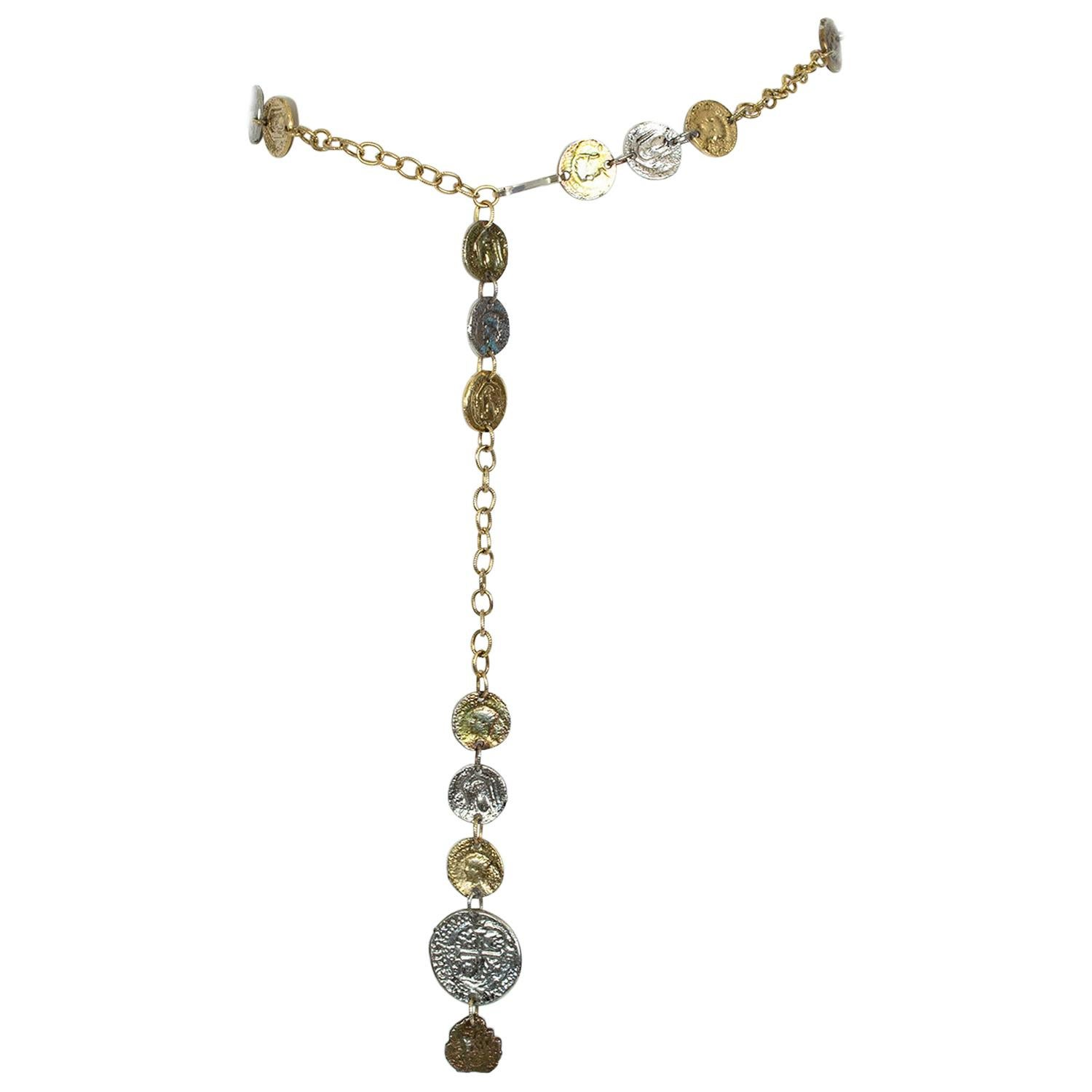 """Gold Shipwreck Chain Belt with Heavyweight Embossed """"Coins"""" – One Size, 1960s"""