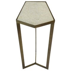 Side or Drinks Table with Matte Gold Base and White Marble Top