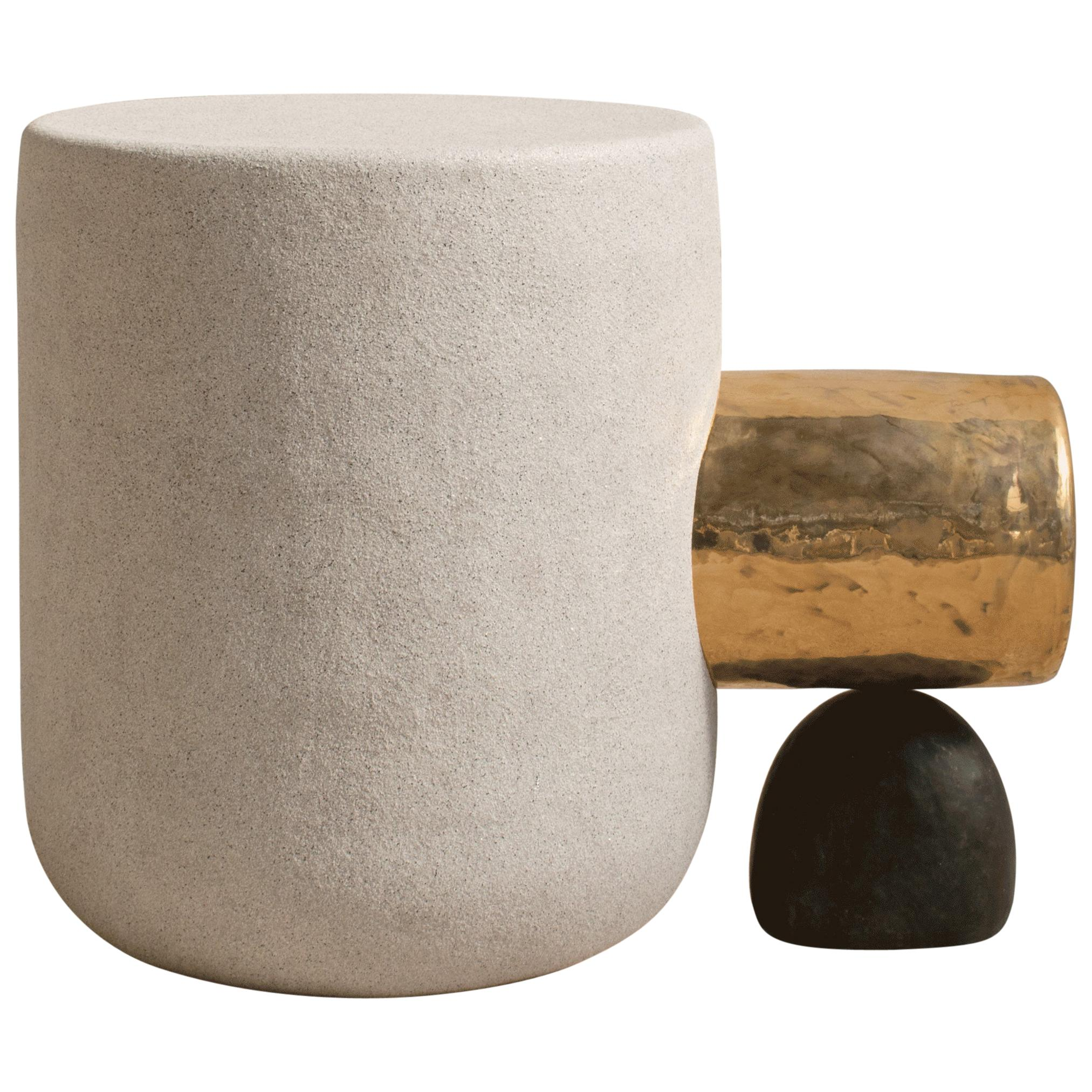 Gold Side Table Contemporary Side Table in Ceramic by MYK Studio