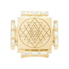 Gold Signet Ring with Diamonds and  Sri Yantra Engraving by ARK Fine Jewelry