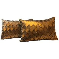 Gold Silk Cushions Pleated Opal Pattern Embossed Rectangular