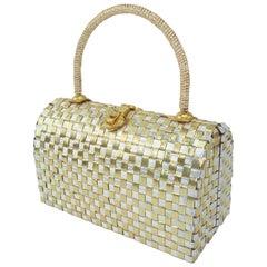 Gold & Silver Basket Weave Metal Handbag, 1950's