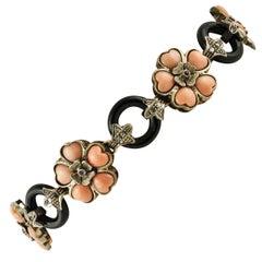 Gold Silver Diamond Ruby Onyx Coral Link Bracelet
