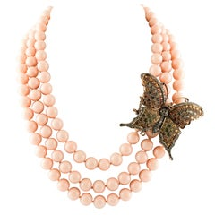 Diamond Multicolor Sapphire Pink Stones Beaded Necklace Rose Gold Silver Closure