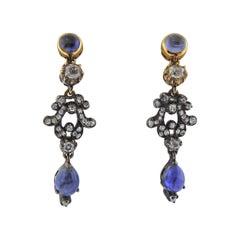 Gold Silver Diamond Sapphire Drop Earrings