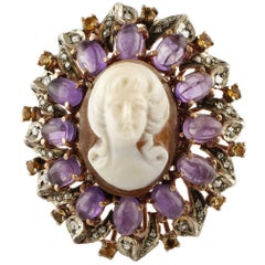 Gold Silver Diamond Topaz Amethyst Cameo Cocktail Ring