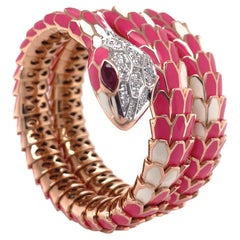 Gold, Silver Enamel Ruby Diamond Bangle, Italy