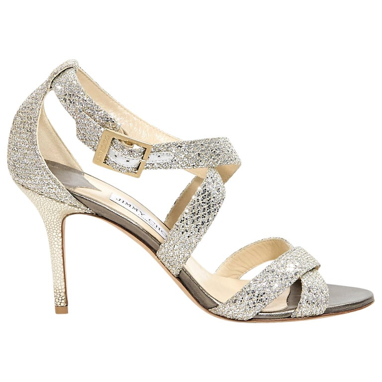 9723c9c630c740 Gold and Silver Jimmy Choo Glittered Strappy Sandals For Sale at 1stdibs