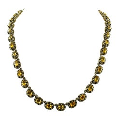 Gold Silver Topaz Necklace