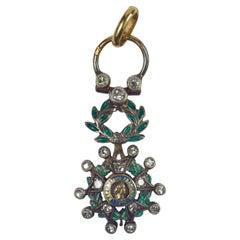 Gold Silver White Diamond Green Enamel Legion d'Honeur Medal Charm Pendant