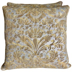 Gold and Silvery Gray Fortuny Pillows