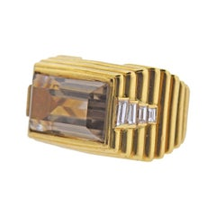 Gold Smokey Topaz Diamond Ring