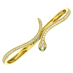 Gold Snake Bangle Bracelet Diamond Pave' 1.50 Carats Green Eyes Liz Taylor