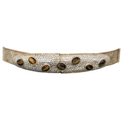 Gold Snake Skin Adjustable Belt W/ Jewels & Stones
