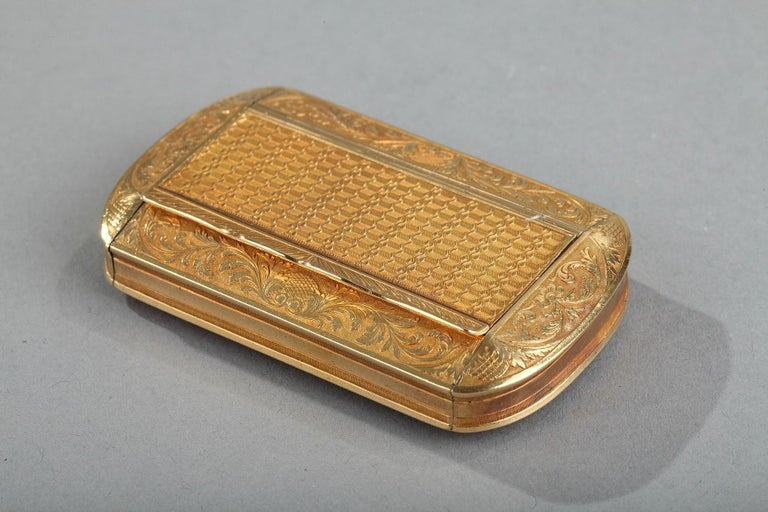 European Gold Snuff Box, Restauration Period, circa 1820-1830 For Sale