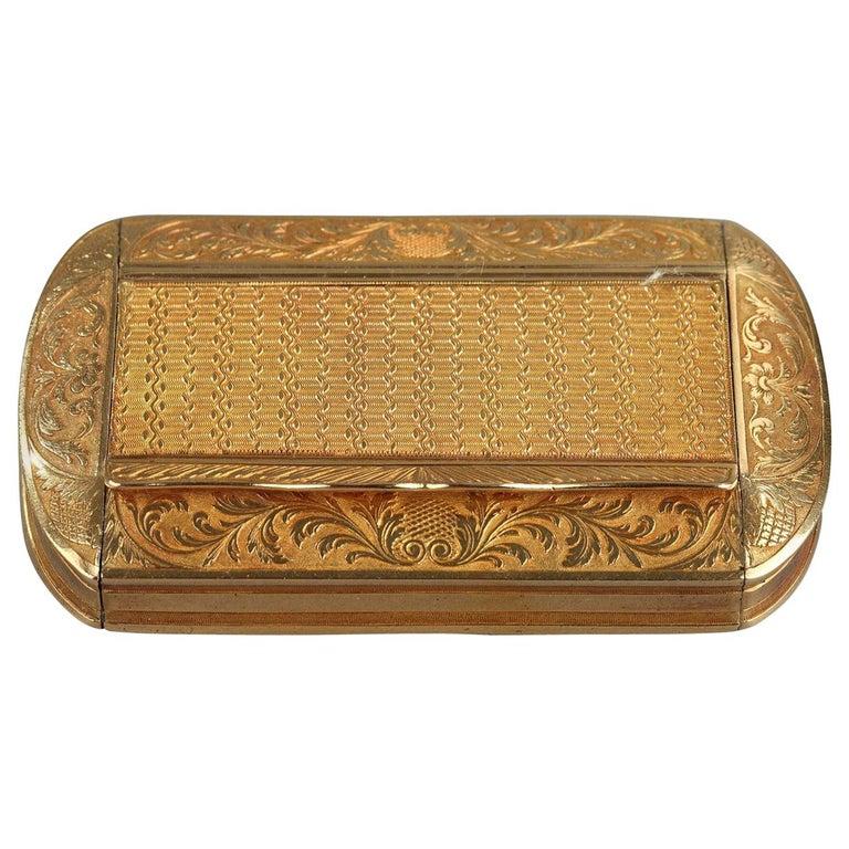 Gold Snuff Box, Restauration Period, circa 1820-1830 For Sale
