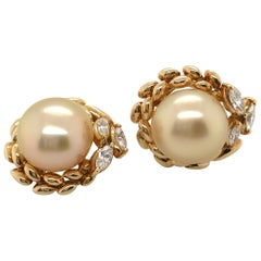 Gold South Sea Cultured Pearl and Diamond 18 Karat Yellow Gold Ear Clips