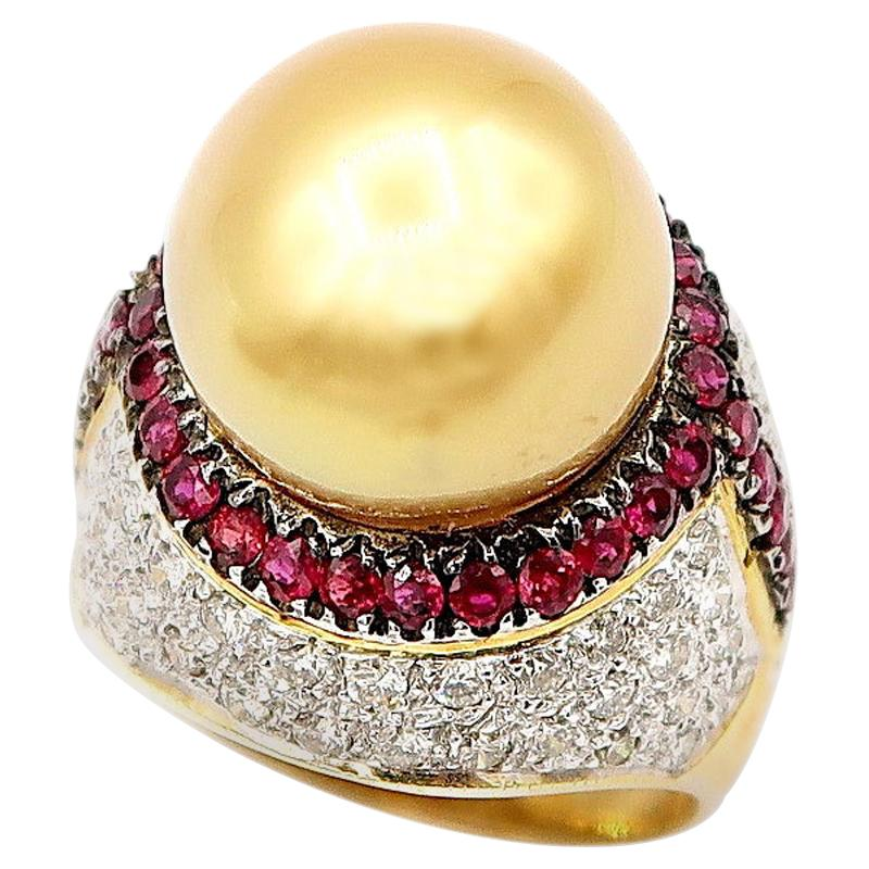 Gold South Sea Pearl and Diamond 18 Karat Gold Ring with Ruby Trim