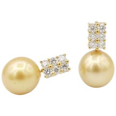 Gold South Sea Pearls 2 Rows Diamonds Yellow Gold Earrings
