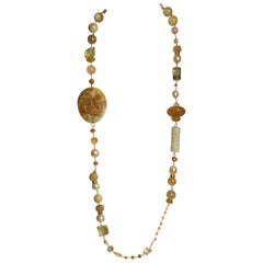 Gold South Sea Pearls, Honey Jade, Multi Gemstone 18kt Gold Statement Necklace