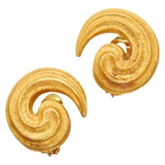 Gold Spiral Earclips