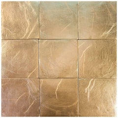 Gold, Square Handcrafted Authentic Gold Ceramic Tiles by Studio Sors