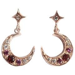 Gold Star Crescent Moon Art Nouveau Earrings