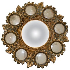 Gold Starburst Convex Cameo Mirror with Photo Frames