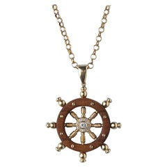 Gold Sterring Wheel Pendant with Wood and Diamond
